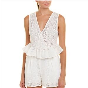 BCBGeneration white crochet lace hem eyelet top
